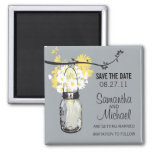 Vintage Mason Jar & Wild Flowers Save the Date 2 Inch Square Magnet