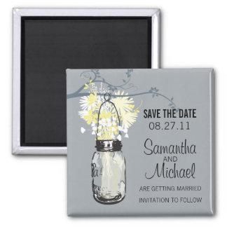 Vintage Mason Jar & Wild Flowers Save the Date Magnet