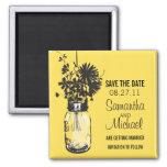 Vintage Mason Jar & Wild Flowers Save the Date Fridge Magnets