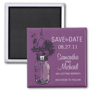 Vintage Mason Jar & Wild FlowersSave the Date Magnet