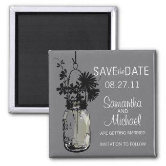 Vintage Mason Jar & Wild FlowersSave the Date Magnets
