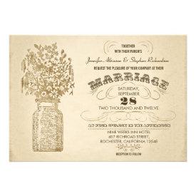 vintage mason jar wildflowers wedding invitation