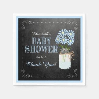 Vintage Mason Jar With Blue Flowers Baby Shower Paper Napkin