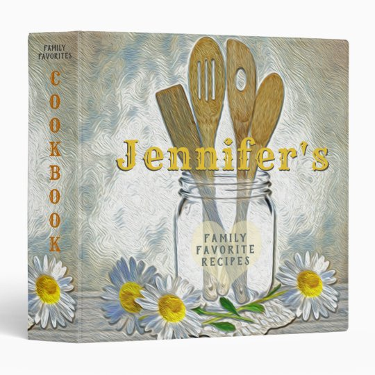 Vintage Mason Jar with Heart and Daisies Cookbook 3 Ring Binder