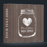 """Vintage mason jar wood grain recipe binder book<br><div class=""""desc"""">Personalized brown wood grain vintage mason jar kitchen recipe binder book. Custom kitchen cookbook with faded heart and personalizable name. Cute personalized baking / cooking gift idea for women; ie mom, mother, aunt, wife, sister, grandma, bride, bridesmaids etc. Rustic country chic design with distressed love symbol. Elegant typography for custom...</div>"""