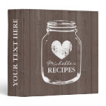 Vintage mason jar wood grain recipe binder book<br><div class='desc'>Personalized brown wood grain vintage mason jar kitchen recipe binder book. Custom kitchen cookbook with faded heart and personalizable name. Cute personalized baking / cooking gift idea for women; ie mom, mother, aunt, wife, sister, grandma, bride, bridesmaids etc. Rustic country chic design with distressed love symbol. Elegant typography for custom...</div>