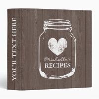 Vintage mason jar wood grain recipe binder book