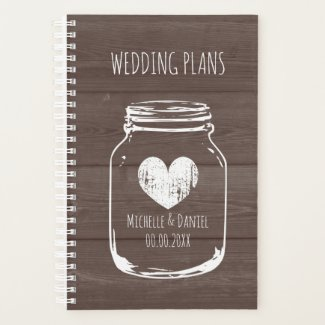 Vintage mason jar wood panel background wedding planner