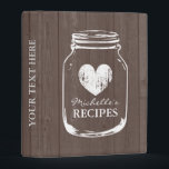 """Vintage mason jar wooden mini recipe binder book<br><div class=""""desc"""">Personalized brown oak wood grain vintage mason jar kitchen recipe binder book. Custom mini kitchen cookbook with faded heart and personalizable name or quote. Cute personalized baking / cooking gift idea for women; ie mom, mother, aunt, wife, sister, grandma, bride, bridesmaids, girl, bride etc. Rustic country chic design with distressed...</div>"""