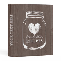 Vintage mason jar wooden mini recipe binder book