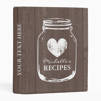 Vintage mason jar wooden mini recipe binder book
