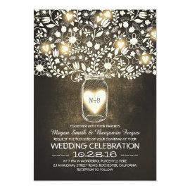 vintage mason jar yellow flowers wedding invites 5