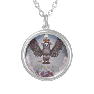 Vintage Masonic Print Silver Plated Necklace