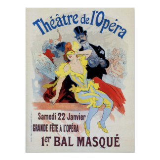 Vintage masquerade ball in the Opera Chéret Print