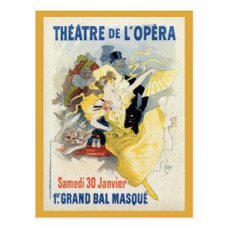 vintage masquerade ball in the opera theatre ad postcard