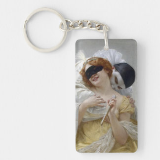 Vintage Masquerade Pierrot Lovers Double-Sided Rectangular Acrylic Keychain