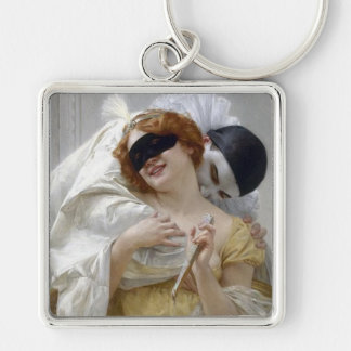 Vintage Masquerade Pierrot Silver-Colored Square Keychain