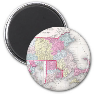Vintage Massachusetts and Rhode Island Map (1855) 2 Inch Round Magnet