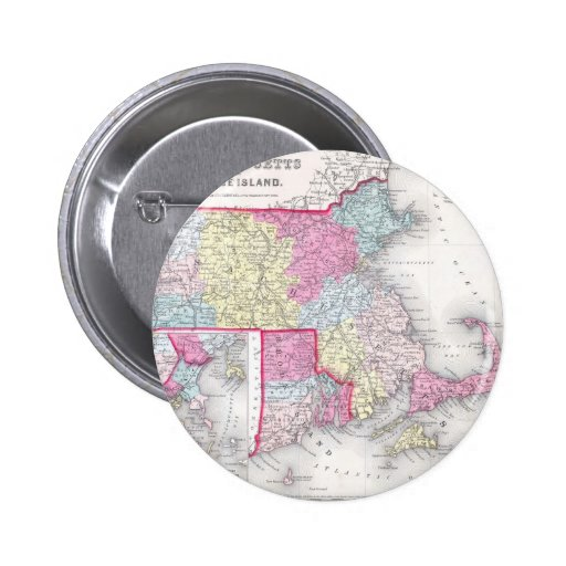 Vintage Massachusetts and Rhode Island Map (1855) Pinback Button