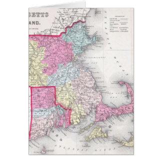 Vintage Massachusetts and Rhode Island Map (1855) Card