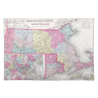 Vintage Massachusetts and Rhode Island Map (1855) Cloth Placemat