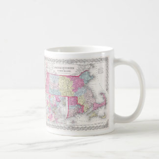 Vintage Massachusetts and Rhode Island Map (1855) Coffee Mug