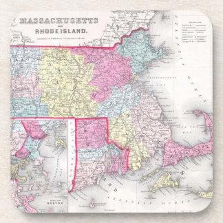 Vintage Massachusetts and Rhode Island Map 1855 Drink Coaster