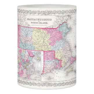 Vintage Massachusetts and Rhode Island Map (1855) Flameless Candle