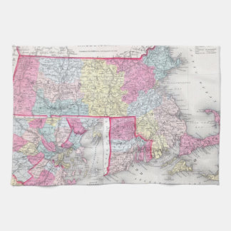 Vintage Massachusetts and Rhode Island Map (1855) Kitchen Towels