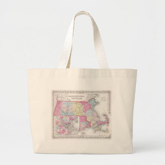 Vintage Massachusetts and Rhode Island Map (1855) Large Tote Bag