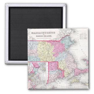 Vintage Massachusetts and Rhode Island Map (1855) Magnet