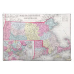 Vintage Massachusetts and Rhode Island Map (1855) Place Mat