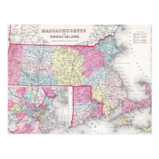 Vintage Massachusetts and Rhode Island Map (1855) Postcard