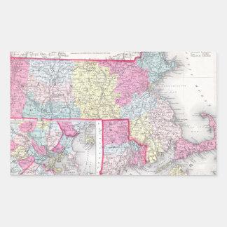 Vintage Massachusetts and Rhode Island Map (1855) Rectangular Sticker