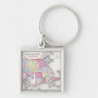 Vintage Massachusetts and Rhode Island Map (1855) Silver-Colored Square Keychain