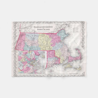 Vintage Massachusetts and Rhode Islands Map (1855) Fleece Blanket