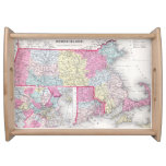 Vintage Massachusetts and Rhode Islands Map (1855) Serving Trays