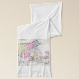 Vintage Massachusetts and Rhode Islands Map (1855) Scarf