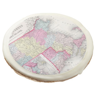 Vintage Massachusetts and Rhode Islands Map (1855) Sugar Cookie