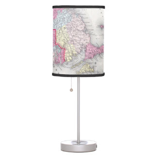 Vintage Massachusetts and Rhode Islands Map (1855) Table Lamp