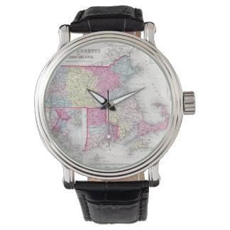 Vintage Massachusetts and Rhode Islands Map (1855) Wrist Watch