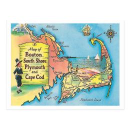 Vintage Massachusetts Cities Map Postcard
