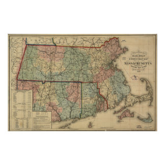 Vintage Massachusetts Railroad Map (1879) Poster