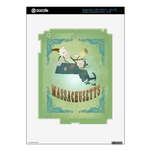 Vintage Massachusetts State Map – Sage Green Skin For iPad 3