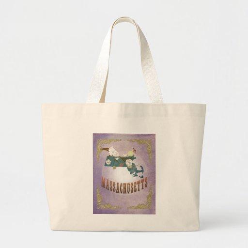 Vintage Massachusetts State Map- Sweet Lavender Jumbo Tote Bag