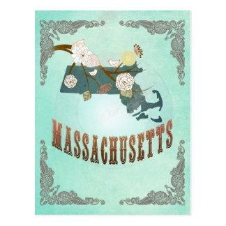 Vintage Massachusetts State Map – Turquoise Blue Postcards