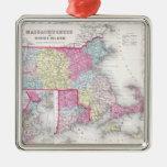 Vintage Massachusetts y mapa de las islas de Rhode Ornamento Para Arbol De Navidad