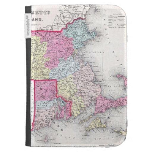 Vintage Massachusetts y mapa de Rhode Island (1855