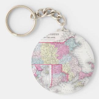 Vintage Massachusetts y mapa de Rhode Island (1855 Llavero Redondo Tipo Pin