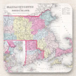 Vintage Massachusetts y mapa de Rhode Island (1855 Posavasos De Bebida